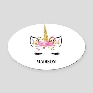 Unicorn Face Eyelashes Personalized Gift Oval Car
