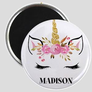 Unicorn Face Eyelashes Personalized Gift Magnets