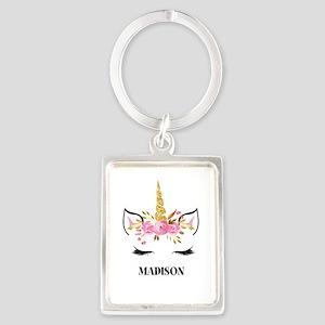 Unicorn Face Eyelashes Personalized Gift Keychains