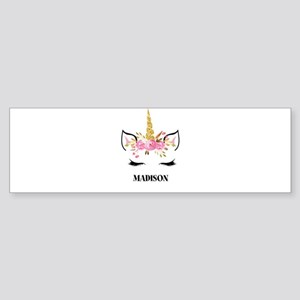 Unicorn Face Eyelashes Personalized Gift Bumper St
