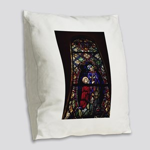 religion stained glass Burlap Throw Pillow