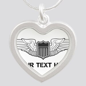 PERSONALIZED PILOT WINGS Silver Heart Necklace