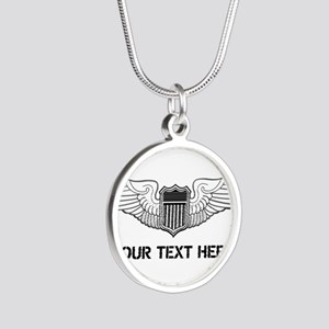 PERSONALIZED PILOT WINGS Silver Round Necklace
