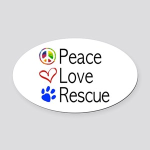 Peace Love Rescue Oval Car Magnet