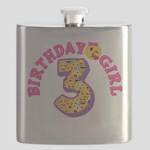 Emoji Birthday Girl Three Flask