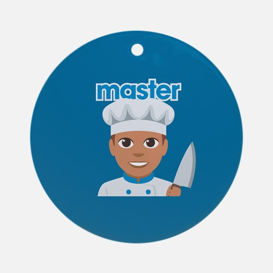 Emoji Master Chef Round Ornament