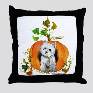 Autumn Pumpkin Westie Throw Pillow