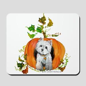 Autumn Pumpkin Westie Mousepad