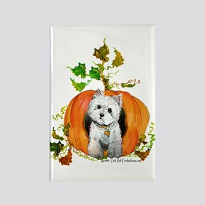 Autumn Pumpkin Westie Rectangle Magnet