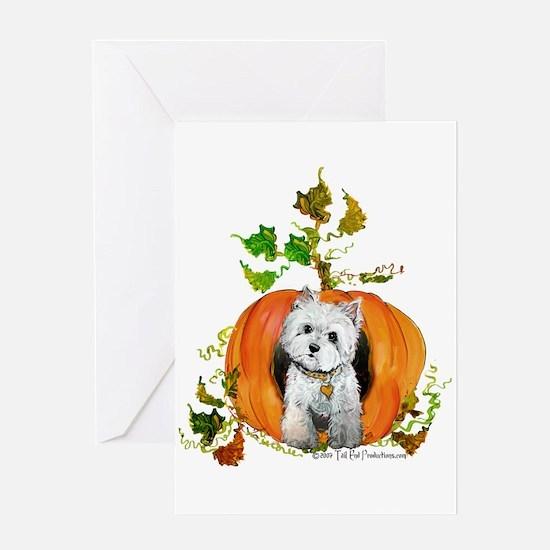 Autumn Pumpkin Westie Greeting Card