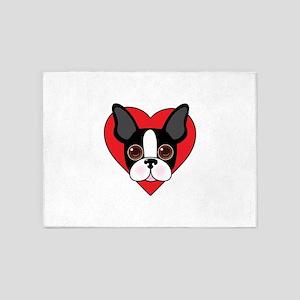 Boston Terrier Face 5'x7'Area Rug