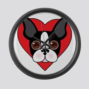 Boston Terrier Face Large Wall Clock