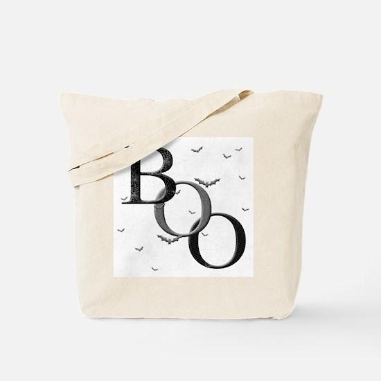 """""""Boo"""" Tote Bag (white/orange)"""