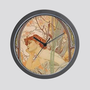 Mucha - Art Nouveau In The Garden Wall Clock
