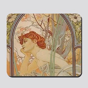 Mucha - Art Nouveau In The Garden Mousepad