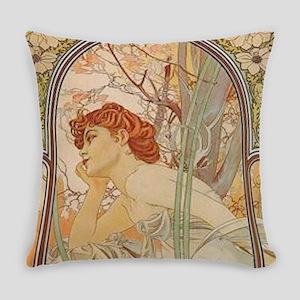Mucha - Art Nouveau In The Garden Everyday Pillow