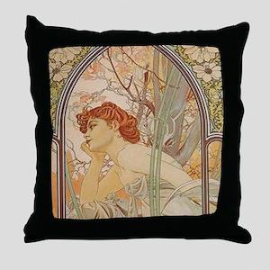 Mucha - Art Nouveau In The Garden Throw Pillow
