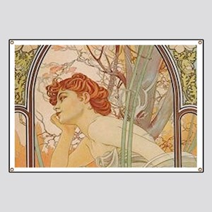 Mucha - Art Nouveau In The Garden Banner
