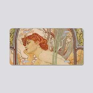 Mucha - Art Nouveau In The Aluminum License Plate