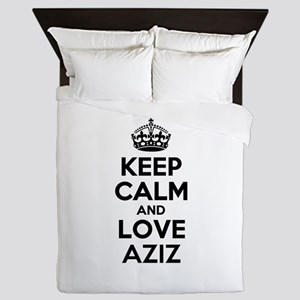 Keep Calm and Love AZIZ Queen Duvet