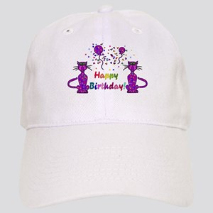 Purple Birthday Cats Cap