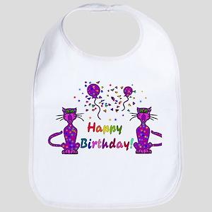 Purple Birthday Cats Bib