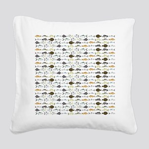 Florida Inshore Fishes Square Canvas Pillow