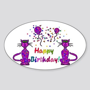 Purple Birthday Cats Oval Sticker