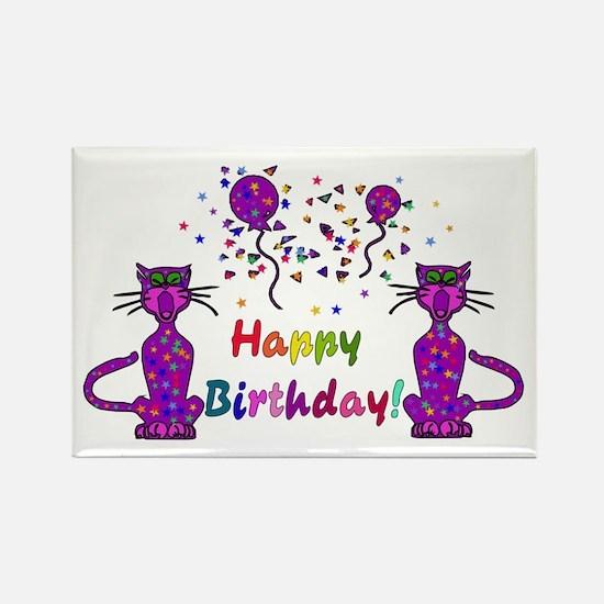 Purple Birthday Cats Rectangle Magnet