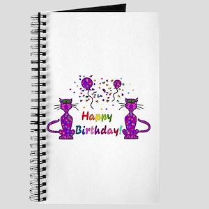 Purple Birthday Cats Journal