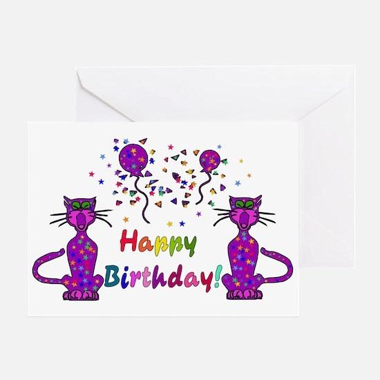 Purple Birthday Cats Greeting Card