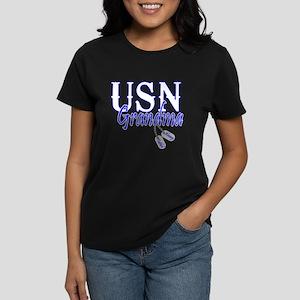 USN Grandma Dog Tag Women's Dark T-Shirt