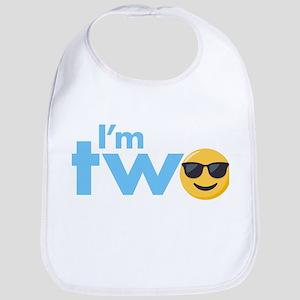 Emoji Birthday Two Cotton Baby Bib