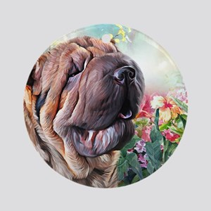 Shar Pei Painting Round Ornament