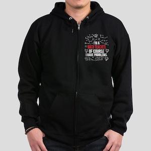 Math Teacher With Problems Zip Hoodie (dark)