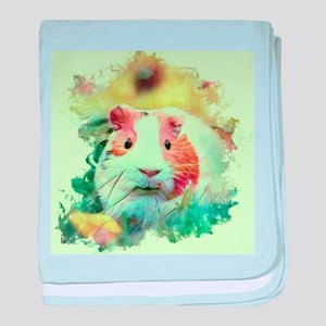 Painterly animal guinea pig baby blanket
