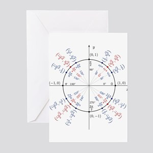 unit circle funny math geek Greeting Cards