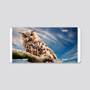 OWL AND SKY Aluminum License Plate
