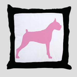 Pink Boxer Dog Throw Pillow