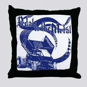 Pedal to the Metal - Blue Throw Pillow