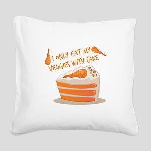 Veggie Cake Square Canvas Pillow