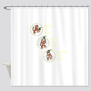 The Volleyball Machine 3 Monkeys Shower Curtain