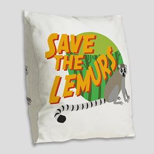 Save the Lemurs Burlap Throw Pillow