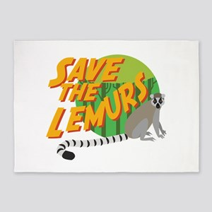 Save the Lemurs 5'x7'Area Rug