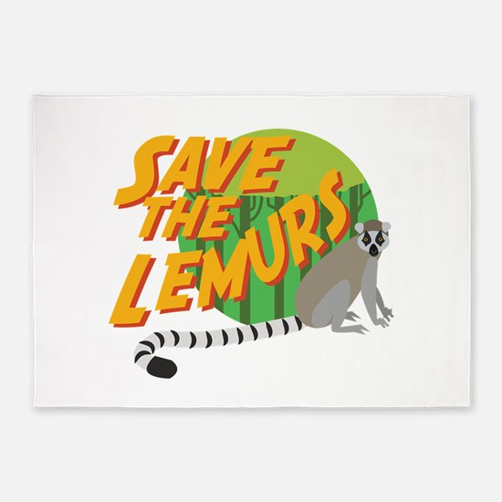 Save the Lemurs 5'x7'Area Rug