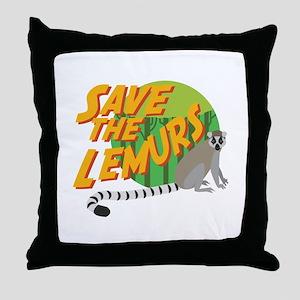 Save the Lemurs Throw Pillow