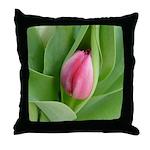 Pink Tulip Bud - Throw Pillow