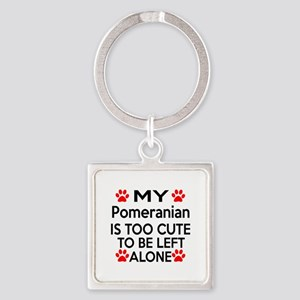 Pomeranian Is Too Cute Square Keychain