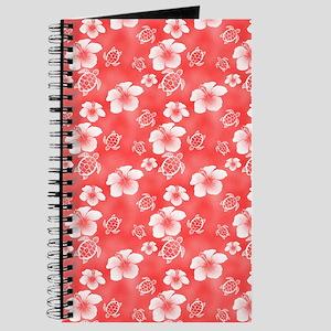 Red Hibiscus Honu Hawaiian Pattern Journal