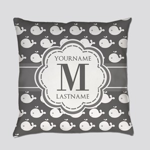 Gray Whale Pattern, Custom Monogra Everyday Pillow